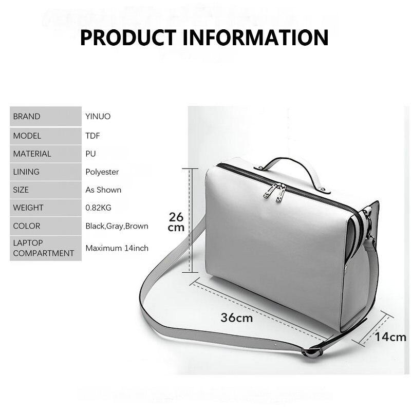 HTB1WbYVSFzqK1RjSZFvq6AB7VXaj YINUO PU Leather Handbag High Capacity Shoulder Bag For 14inch Laptop Bag Briefcase Waterproof Detachable Summer Bag