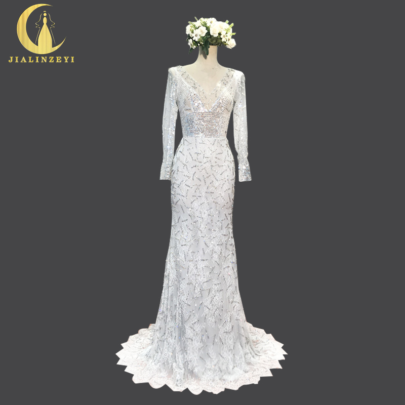Rhin échantillon réel Image ruban manches longues col v cristal mode ouvert dos luxueux formelle robes de soirée sexy robe de soirée