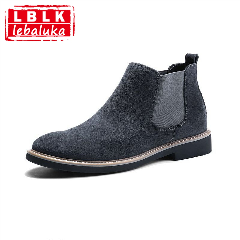 LebaLuka Casual Men Ankle Chelsea Boots Male Shoes Cow Suede Leather Quality Slip On Motorcycle Man Boot footwear size 38-44