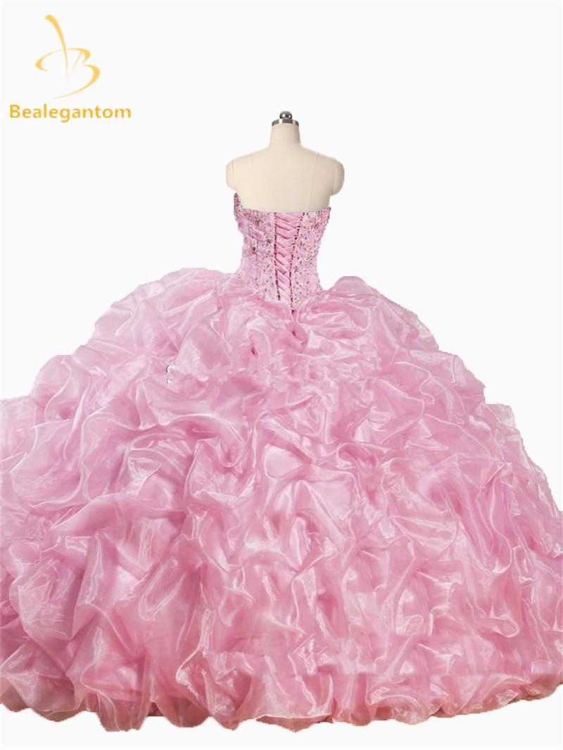 2016 Nieuwe Mooie Roze Wit Quinceanera Jurken Met Jas Met Kralen - Jurken voor bijzondere gelegenheden - Foto 3