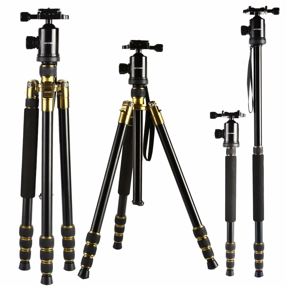 K&F CONCEPT Professional Alloy Tripod 4 Section Camera Monopod With 360-degree Angle Panoram Ball Head for Canon Nikon Sony DSLR sirui a 1205 a1205 tripod professional carbon fiber flexible monopod for camera with y11 ball head 5 section free shipping