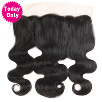 Today Only Brazilian Body Wave Hair 13x4 Ear To Ear Lace Frontal Closure Non Remy Human