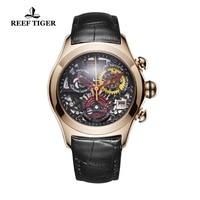 2019 Reef Tiger/RT Роскошные спортивные часы из розового золота женские модные часы Swiss Ronda Movement skeleton часы Дата RGA7181