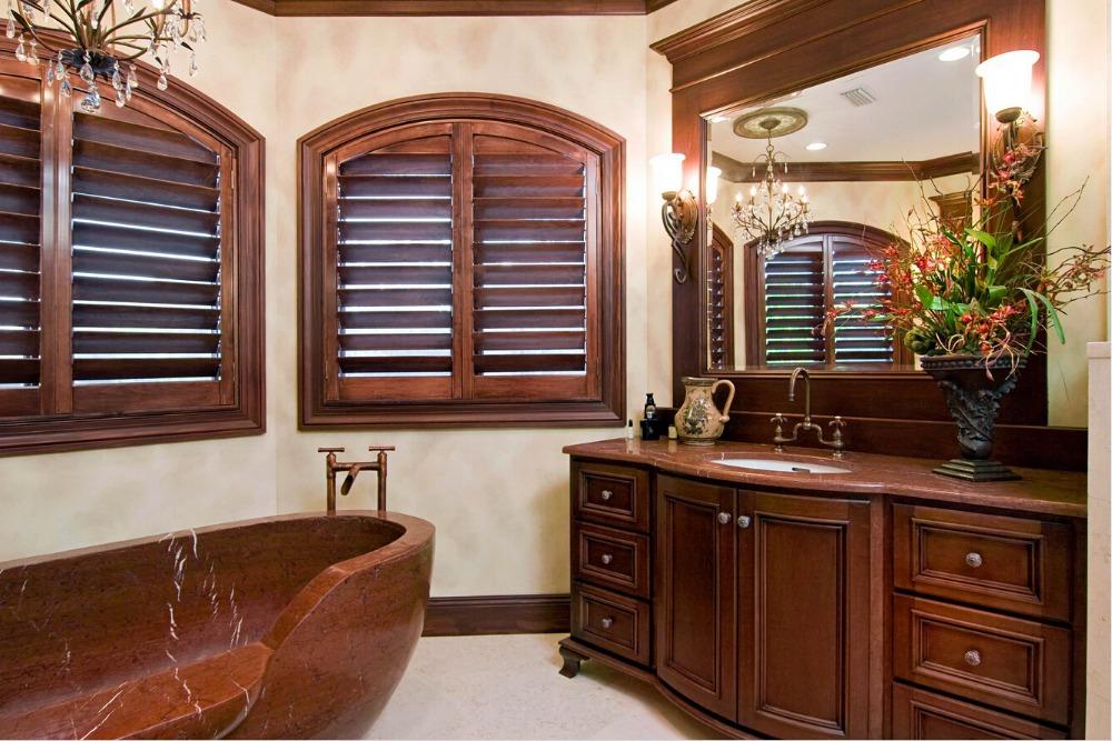 2017 Highly Durable Window Shutters Arch Top Rail Wooden Blinds Solid Wood Shutter Louver Wood Folding Shutters WS1612015