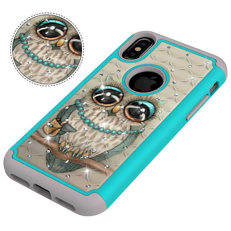 Luxury 2 in 1 Bling สำหรับ Iphone XR X XS Max 6 6s 7 8 Plus สำหรับนกฮูก Glitter น่ารักซิลิโคนทาสี Hard Funda