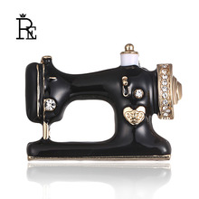 Needle thread seamstress black sewing machine brooch Women pin brooches Enamel pins denim jeans coat badge gift jewelry CA40