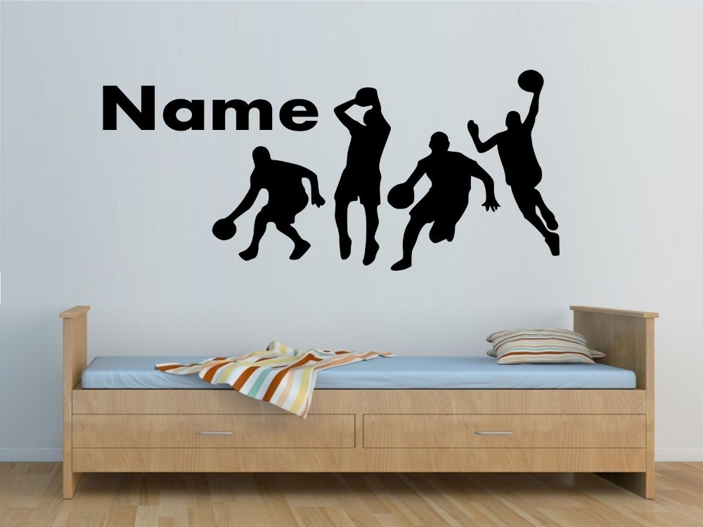 Personalised basketball players wall sticker boys bedroom for Boys wall mural