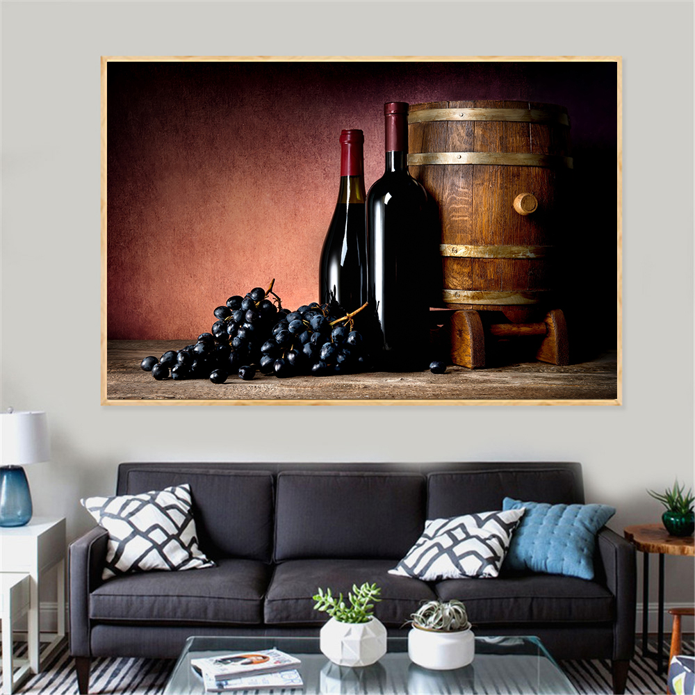 US $4.39 12% OFF|Modern Print Food Painting Juice Grape Wine Glasses Drinks  Beer Barrel Kitchen Decor Champagne Living Room Decoration Cuadros-in ...