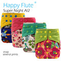 Happyflute os super night ea2 paño diaepr, cáñamo y carbón bamoo insertar, double fugas guardias, Sml ajustable, ajuste 5-15 kg