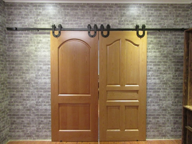 (Free Shipping ) 6.6FT Black Antique Horseshoe Barn Wood Double Sliding  Doors Hardware Interior