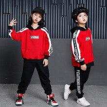 Модный уличный стиль, хип-хоп танцевальный костюм для детей, сценическое шоу, соревнование, Осень-зима, для мальчиков и девочек, джаз, дурмс, хип-хоп костюм, одежда
