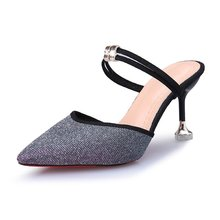 купить 2019 spring hollow Thin heels sandals high-heeled shallow mouth pointed pumps shoes women Female sexy high heels large size дешево