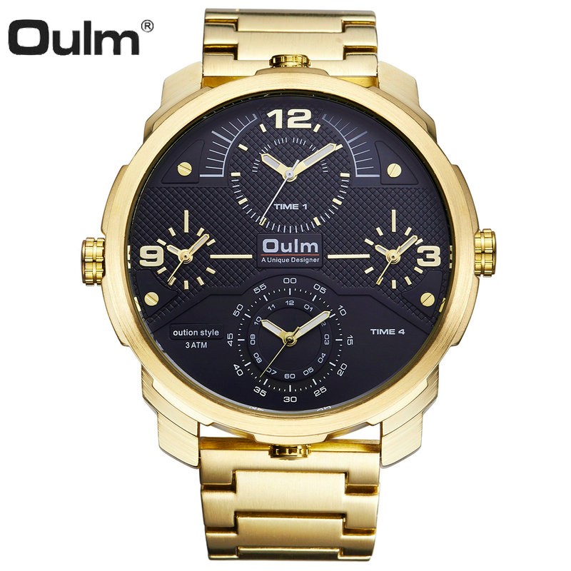 OULM Top Brand Luxury Golden Quartz Watch Men Full Steel Strap Big Dial 4 Time Zones Fashion Business Wrist Watches Waterproof стоимость