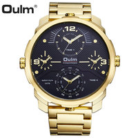 OULM Top Brand Luxury Golden Quartz Watch Men Full Steel Strap Big Dial 4 Time Zones Fashion Business Wrist Watches Waterproof