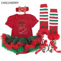 White Newborn Baby Girl Christmas Outfit Lace Romper Leg Warmers Shoes Headband 4PCS Clothing Set Girls