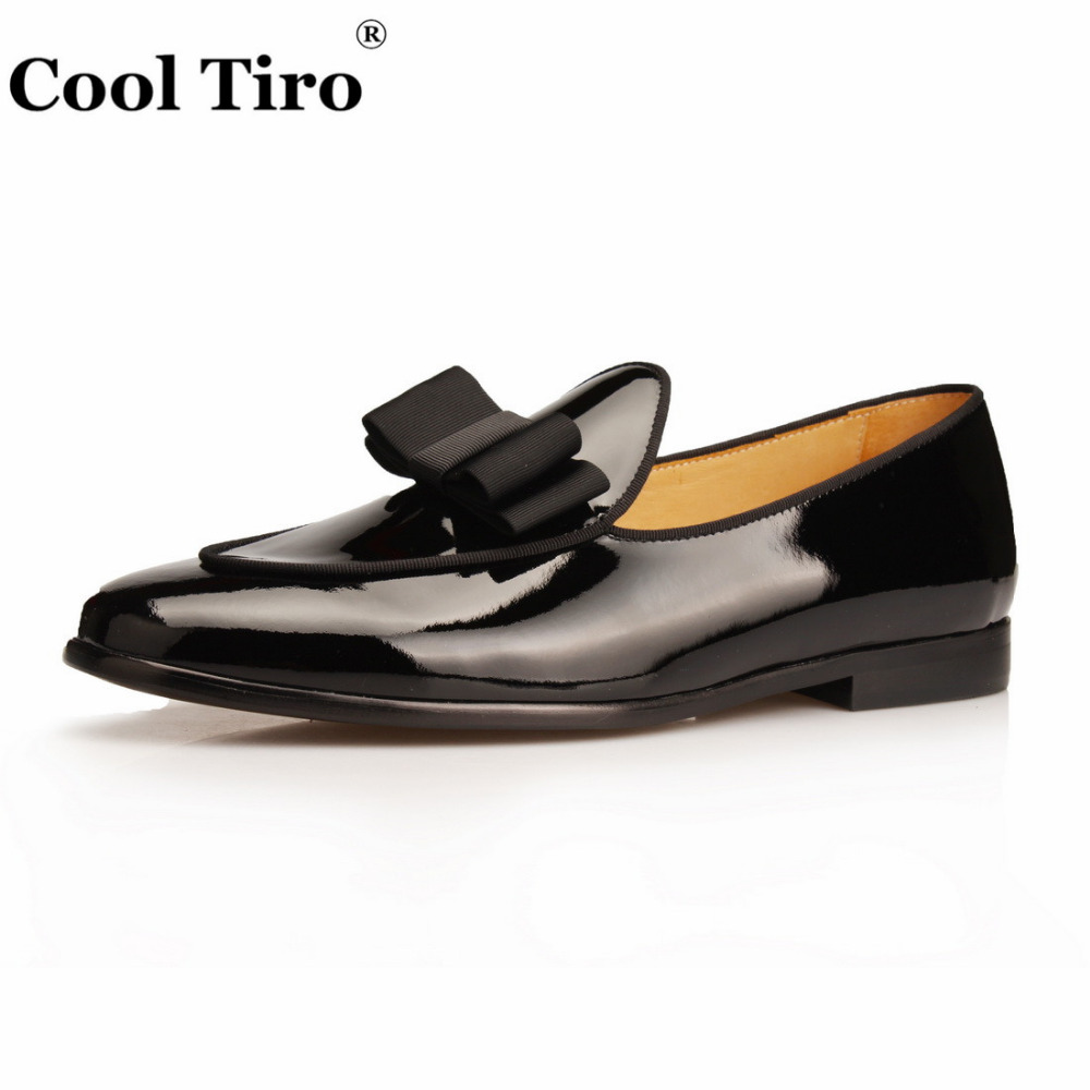522035950b71 Cool Tiro Black Patent leather Loafers Men Slippers Bow Tie Moccasins Man  Flats Wedding Men's Dress Shoes Casual slip on shoes