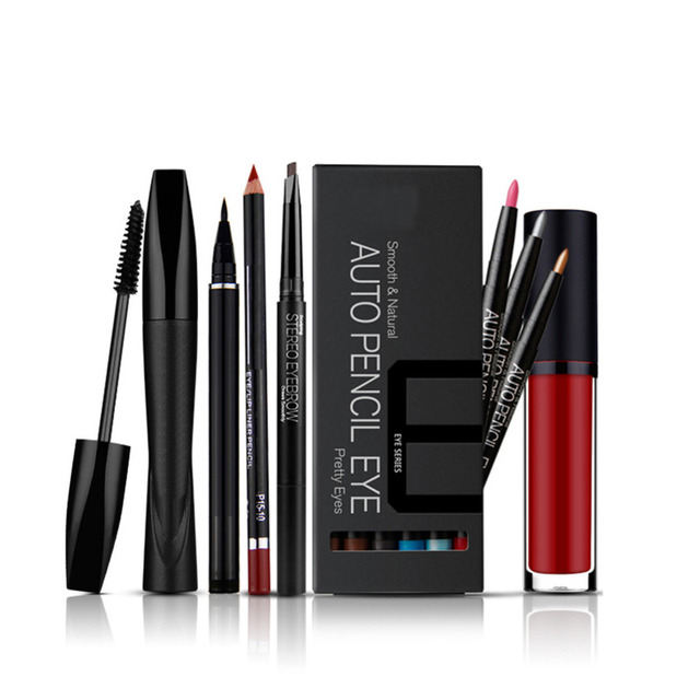 Cosmetics Set: Liquid Eyeliner+Lip liner +Thick and Curling Mascara+12 colours Eyeshadow+Lipgloss+Auto-revolving Eyebrow Enhance