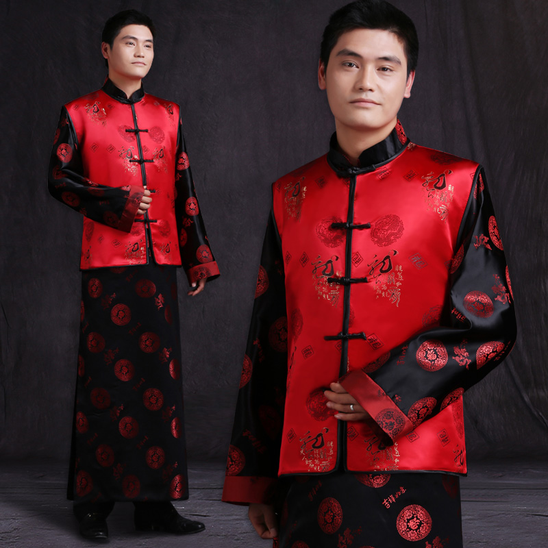 4f0a647610dcc Aliexpress.com   Buy Mens male red Chinese style ancient costume groom dress  jacket long gown traditional Chinese wedding dress tang suit from Reliable  suit ...