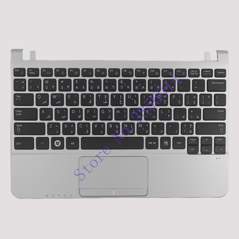NEW Arabic For Samsung NC110 AR black keyboard With silver palmrest cover laptop keyboard for acer silver without frame arabic ar v 121646cs2 ar aezqsq00110