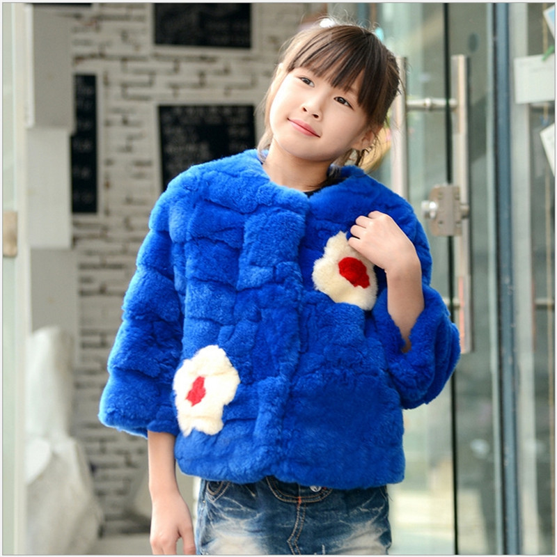 2016 Fashion Hot Children Rabbit Fur Short Coat Kids Autumn and Winter Warm Clothing with Long Sleeve O-Neck Girls Outwear Coat black and white senior rabbit fur hat