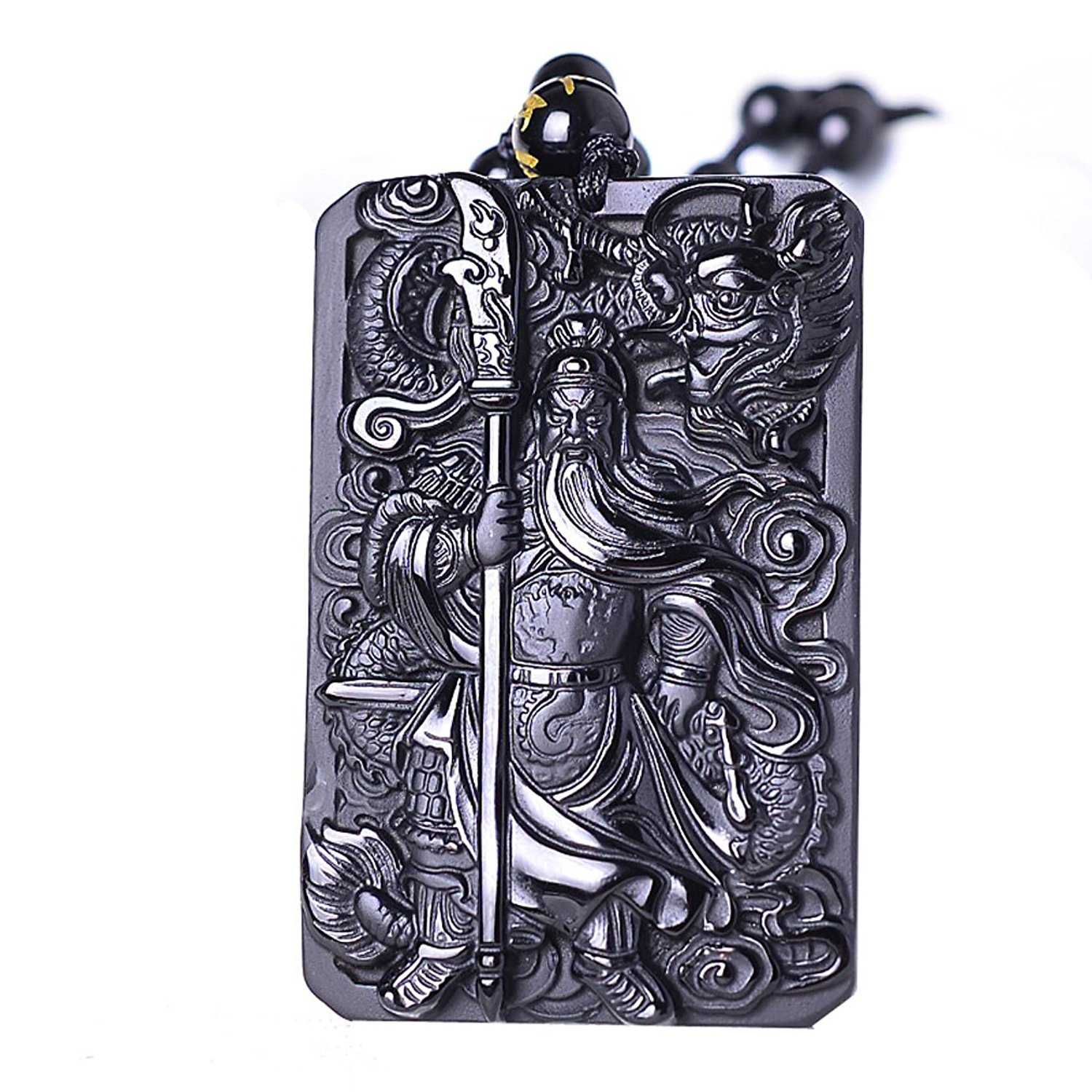 Koraba Fine Jewelry natural obsidian Dragon Guan Gong Guan Yu Hold broadsword Knight Pendant necklace Free Shipping 15 chinese folk bronze painted seat general guan gong yu warrior god broadsword dsd66