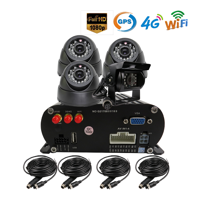 Free Shipping 4 Channel WIFI GPS 4G 1080P AHD 2TB HDD SD Car DVR MDVR Video Recorder Realtime Monitor Rear View Dome Car Camera 4 channel 256g sd car vehicle dvr mdvr video recorder kit cctv rear view camera dome camera for truck van bus free shipping