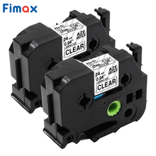 Fimax 2 pieces TZe-151 compatible Brother label tape TZe151 TZe 151 24mm black on clear ribbons brother printer label ribbons