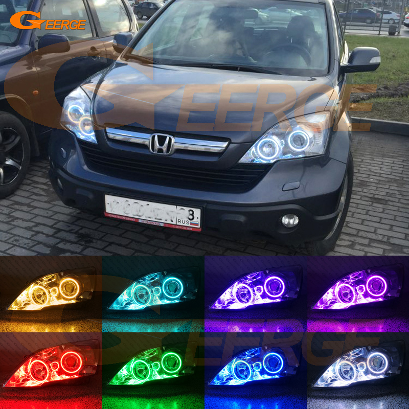 For HONDA CR-V CRV 2007 2008 2009 2010 2011 Xenon headlight Excellent Multi-Color Ultra bright RGB LED Angel Eyes kit halo rings for honda cr v crv 2007 2008 2009 2010 2011 projector headlights excellent ultra bright smd led angel eyes halo ring kit