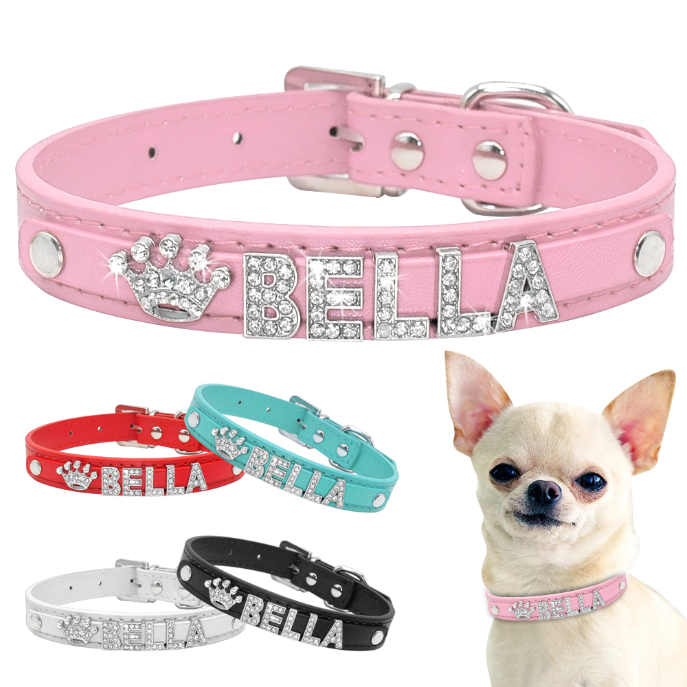 Bling Rhinestone Puppy Dog Collars Personalized Small Dogs Chihuahua Collar Custom Necklace Free Name Charms Pet Accessories 1