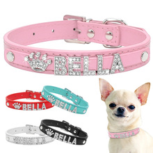 Dog-Collars Necklace Pet-Accessories Charms Puppy Rhinestone Custom Free-Name Small Dogs