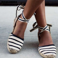 TINGHON Summer Canvas Women Espadrilles Ankle Strap Platform Sandals  Stripe Lace up Flat
