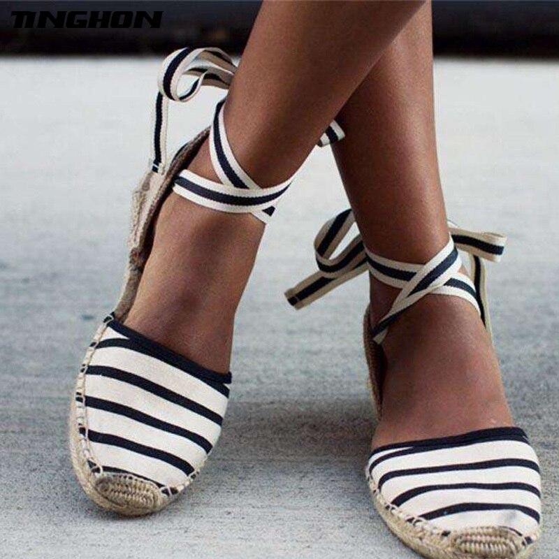 TINGHON/летние женские парусиновые эспадрильи, сандалии на платформе с ремешком на щиколотке, женские сандалии на плоской подошве со шнуровкой в полоску