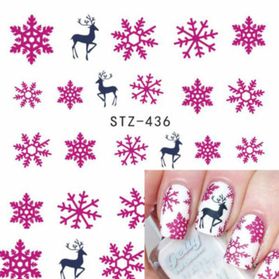 1pcs Smiling Face Snowflake Cartoon Nail Art Sticker Set Black Lace Glitter Flower Water Decal Slider Wraps Decor Manicure Ns210