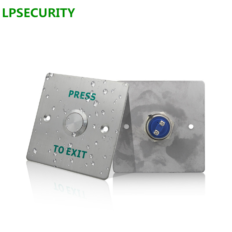 LPSECURITY IP68 Waterproof Outdoor Gate Opener Door Lock Bolt Stainless Steel Panel Door Exit Button Switch NO NC