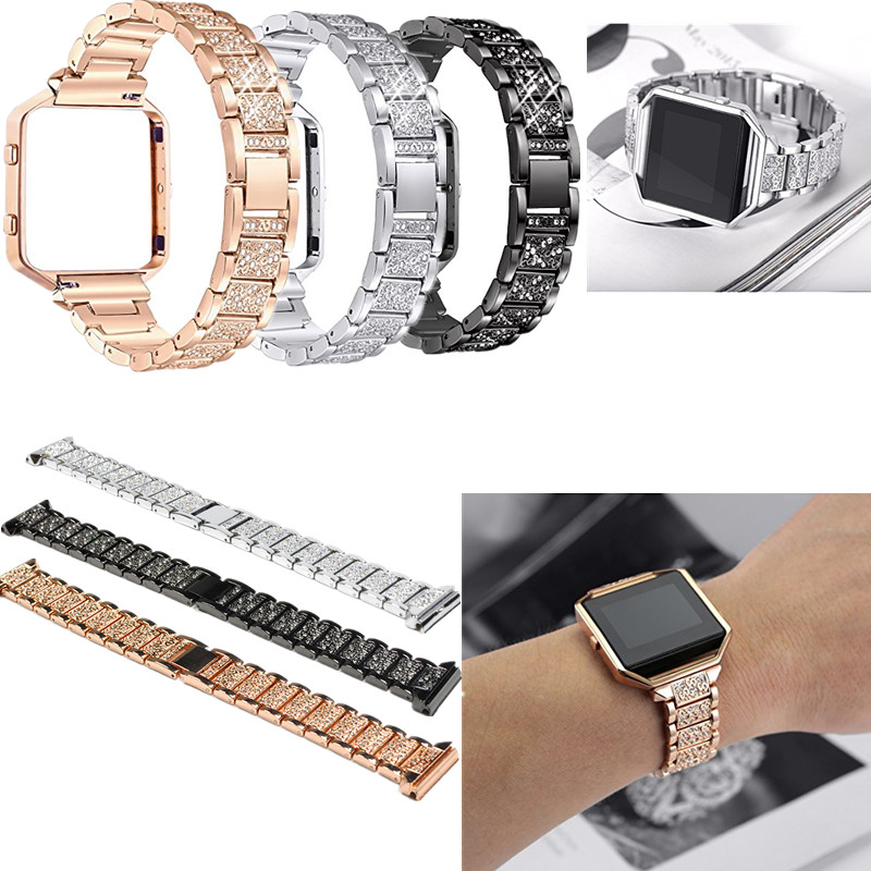ASHEI Strap Watch band For Fitbit Blaze Bands With Rhinestone Watchbands Stainless Steel Accessory Bracelet for Fitbit Blaze carlywet 23mm black 316l stainless steel replacement watch strap belt bracelet with case metal frame for fitbit blaze 23 watch
