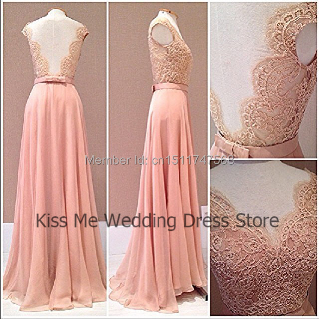 2015 Coral   Prom     Dress   Lace V Neck Back Chiffon Long Special Occasion Evening Gowns Real Sample Free Shipping LP007