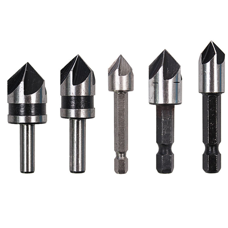 5pcs/set Countersink Drill Bit Set Round/Hex Shank Chamfering End Mill Milling Cutter HSS 5 Flutes 82 Degree Metal Chamfer Tool free shipping new 6pc 3 flutes 90 degree hss chamfer chamfering cutter end mill drill bits milling metal cutting tool set
