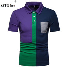 Fashion men short sleeve polo shirts cotton polyester blend tide splice polo shirt pocket decoration casual men clothing все цены