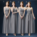 Gray Soft Tulle Bridesmaid Dress With Pleats Long 2017 Elegant Floor Length Wedding Guest Dress Lace Up Bridesmaid Gowns