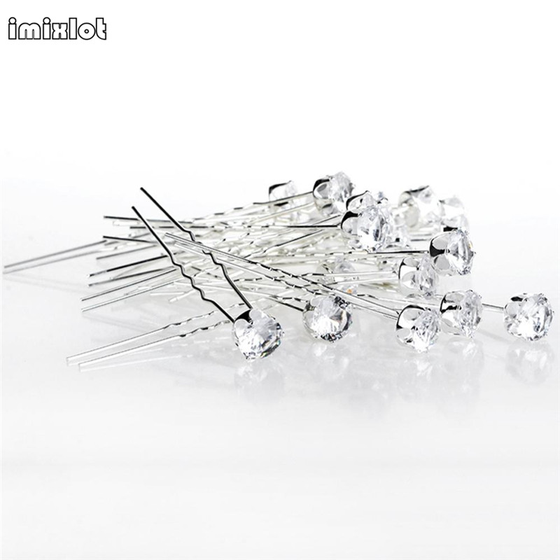 Clips Jewelry Tiara Hair-Pins Rhinestone Bridal-Bridesmaid-Accessories Crystal Round