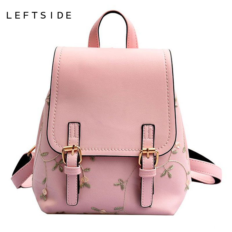 LEFTSIDE Floral Women Leather Backpack Lace Embroidery School Bag For Teenage Ladies Bagpack Small Backpacks Green Back Pack