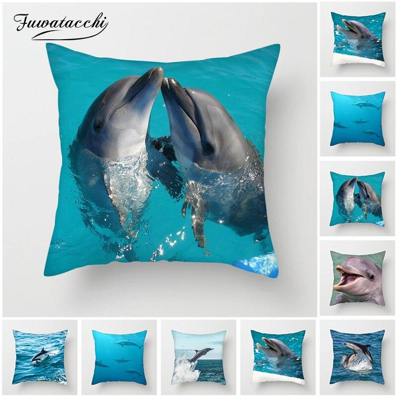 Fuwatacchi mignon dauphin housses de coussin pour canapé maison chaise décorative poisson de mer taie d'oreiller nouvelle 2019 taie d'oreiller carrée