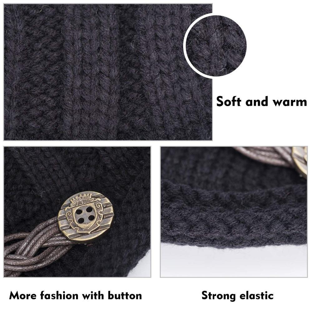 8933c1a514d Women Winter Beanie hats Cabled Checker Pattern Knit Hat Button Strap Cap