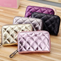 Fashion Shiny Women Zipper Credit Card Holder Leather Genuine Cowhide Cardholder Extendable ID Card Wallet Purse Bags