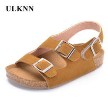 ULKNN Boys Sandals Kid Sandals Children Shoes Cut-outs Rubber Leather School Shoes Breathable Open Toe Casual Toddler Sandal