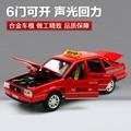 1pc 1:32 16cm extreme Volkswagen Santana alloy taxi car Acousto-optic model decoration boy children baby toy Gift