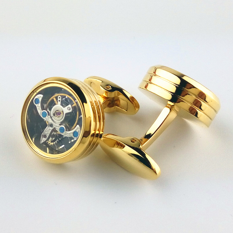 Flywheel Cufflinks 4 colors Functional tourbillon mechanical watch cufflinks male French ...