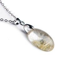 Fashion Pendants For Jewelry Making Natural Titanium Rutilated Quartz Crystal Rectangle Bead Charm Necklace Pendant 16x12x7mm