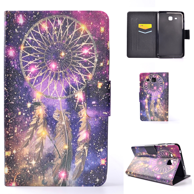 SM-T280 T285 Wallet Bag Shell Soft TPU Silicone Cover For Samsung Galaxy Tab A 7.0 Inch Case With Tower Bird Feather Heart Print