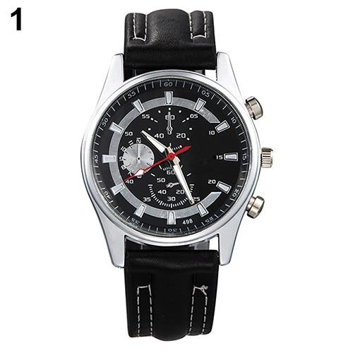 Men Casual Black Dial Wristwatch Faux Leather Band Business Quartz Wrist Watch
